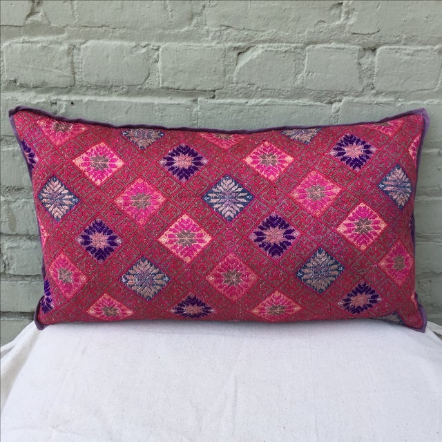 Hmong Vibrant Woven Textile Pillow - Image 2 of 5