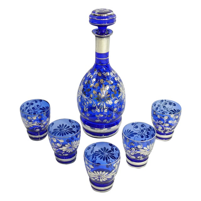 Vintage Venetian Blue Decanter Cordial Set of 6 - Image 1 of 5