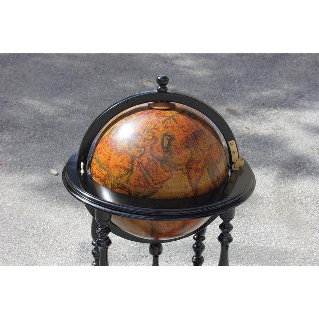French Mid-Century Solid Mahogany World Globe Bar - Image 3 of 11
