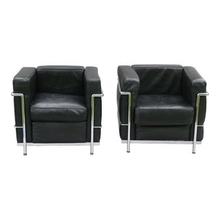 Leather Lounge Chairs - A Pair