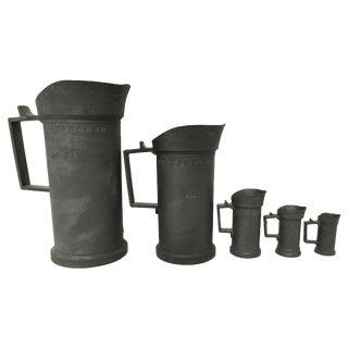 Antique French Pewter Measuring Mugs - Set of 5
