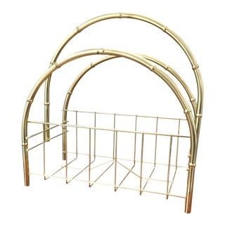 Vintage Gold Bamboo Metal Magazine Rack