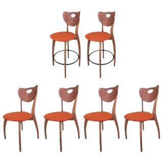 Danish Modern 4 Chairs & 2 Stool Set