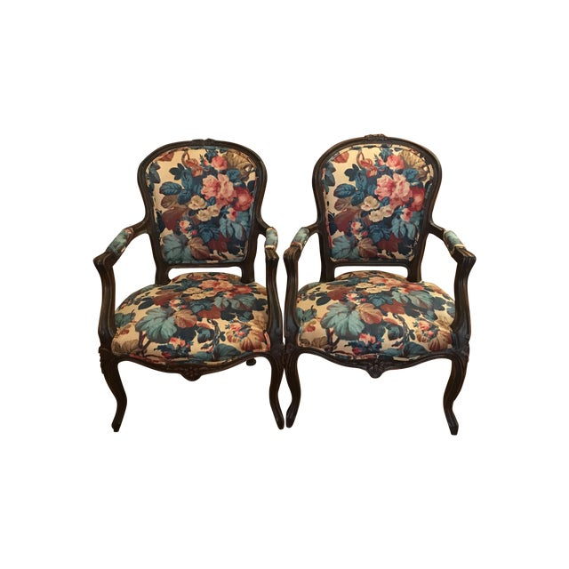 Image of Antique French Chairs W/ Custom Upholstery - Pair