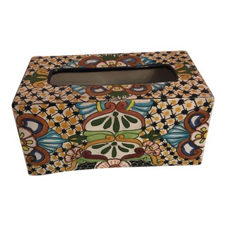 Mexican Hand Painted Ceramic Talavera Tissue Box