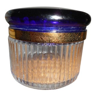 Glass Ribbed Jar with Cobalt Glass Lid