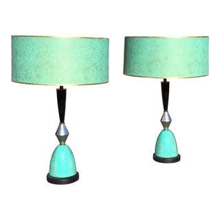 Aqua Atomic Mid-Century Lamps - A Pair
