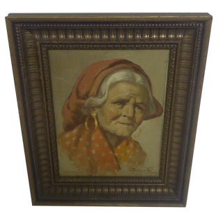 """GRANDMA"" Original Painting, Circa 1940's"
