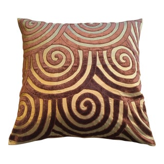 Brown Velvet & Gold Silk Swirl Pillow
