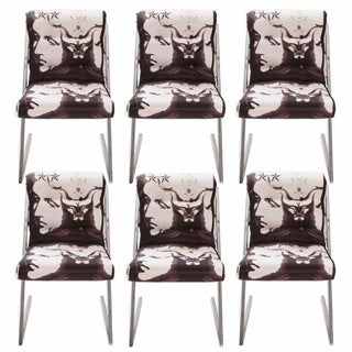 1980s Chrome 'Z' Dining Chairs in Roberto Cavalli - Set of 6