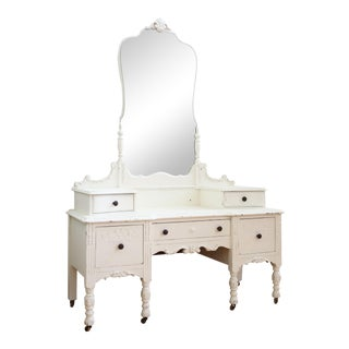 Antique Shabby Chic Vanity With Mirror