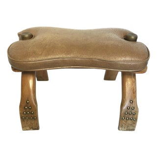 Egyptian Wood & Brass Camel Saddle Ottoman