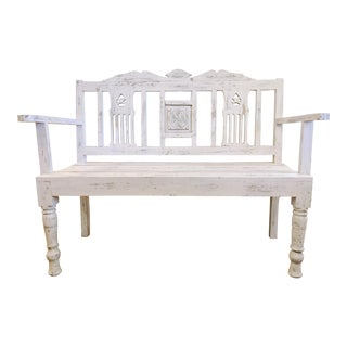 Distressed White Bench with Carved Back