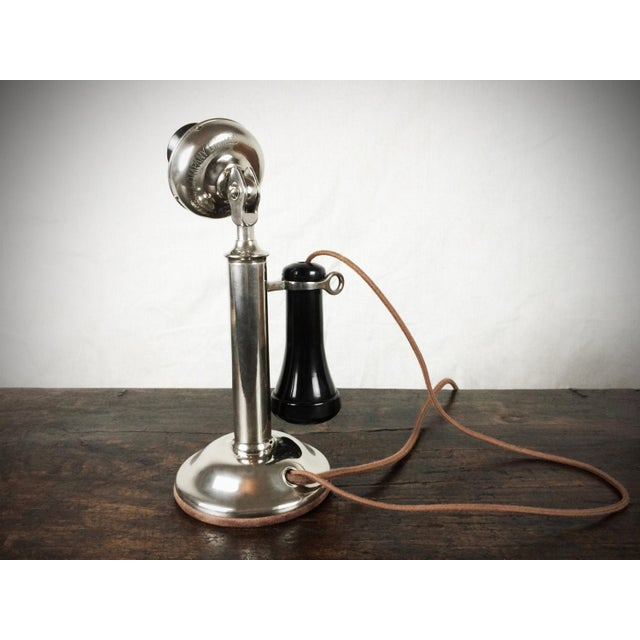 Antique 1910s Nickel Plated Candlestick Telephone - Image 3 of 5