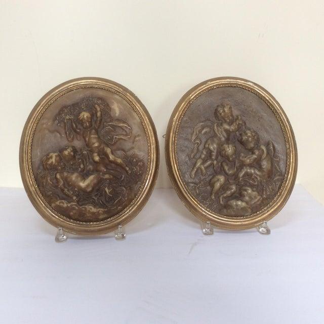 Antique Wax Cherub Reliefs - A Pair - Image 2 of 9