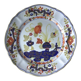 Italian Faience Terra Cotta Plate-'Blue Carnation'-Garofano