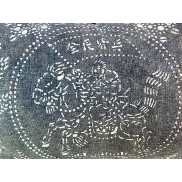 Gray Chinese Warrior Batik Pillow - Image 3 of 8
