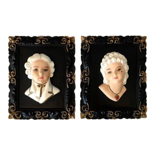 French Marie Antoinette & King Louis Plaques - A Pair