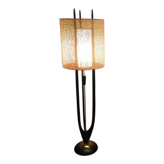 Modeline Mid-Century Walnut & Brass Floor Lamp