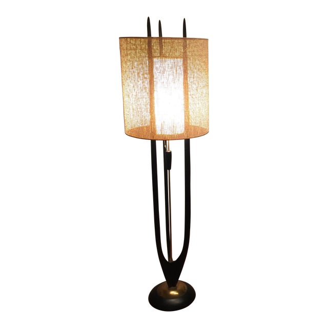 modeline mid century walnut brass floor lamp chairish. Black Bedroom Furniture Sets. Home Design Ideas