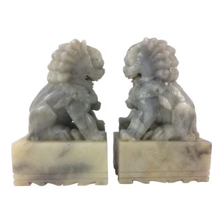 Vintage Alabaster Foo Dog Bookends - A Pair