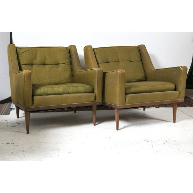 Milo Baughman Vintage 1950s Green Chairs - A Pair - Image 2 of 6