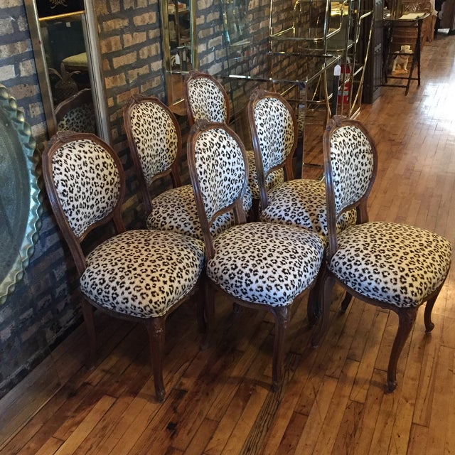 Image of 1920's Louis XVI Dining Chairs in Leopard Print- 6