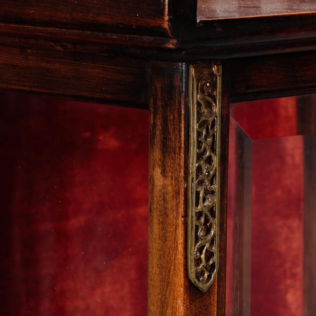 Tall Narrow Chinese Carved Wood Vitrine Display Cabinet - Image 3 of 11