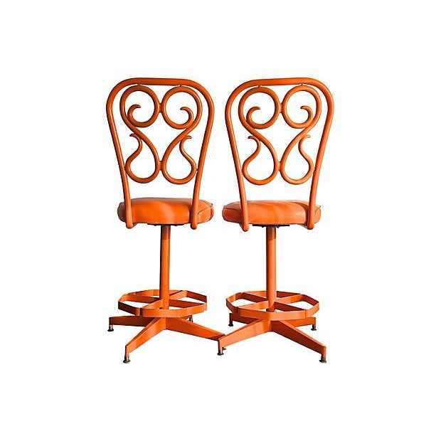 Image of Vintage 1970s Counter Height Swivel Stools- A Pair