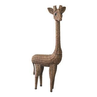 Natural Fiber Wicker Giraffe Floor Statue