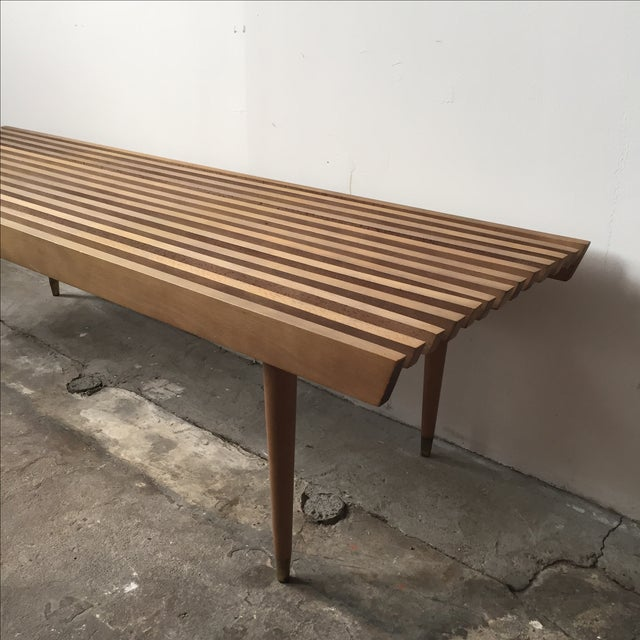Mid-Century Yugoslavian Slat Bench With Peg Legs - Image 6 of 11