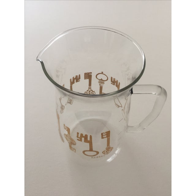 Image of Vintage Pyrex Glass Gold Key Beverage Pitcher