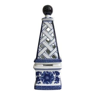 Vintage Blue & White Obelisk Tealight Holder