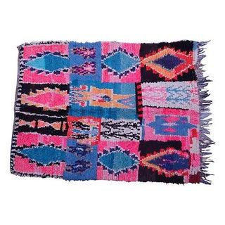 "Pink & Blue Moroccan Wool Rug - 6'2"" X 4'6"""