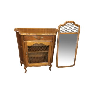 Cherry Hekman Demilune Console Table And Mirror