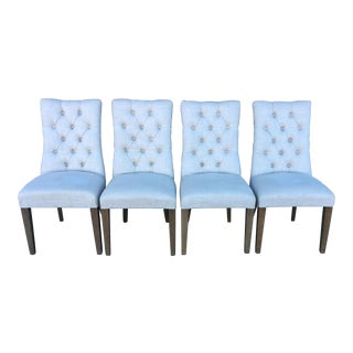 Restoration Hardware Tufted Linen Dining Room Chairs - Set of 4