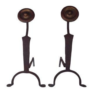 Antique Art Deco Iron Andirons - A Pair