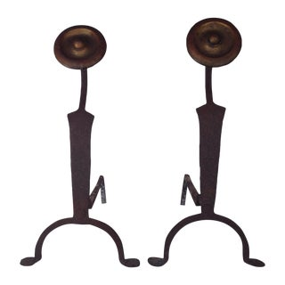 Antique Art Deco Iron Andirons - A Pair