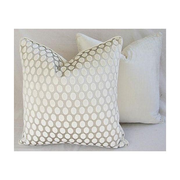 Designer Platinum/White Velvet Dot Pillows - Pair - Image 4 of 8