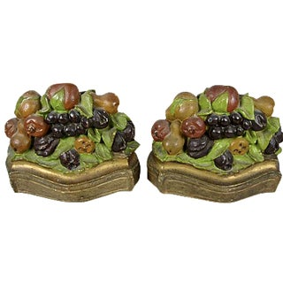 Autumnal Fruit Chalkware Bookends - A Pair