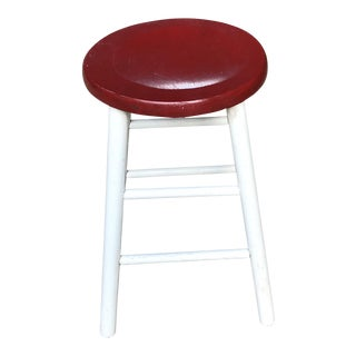 Vintage Red and White Painted Farm Stool