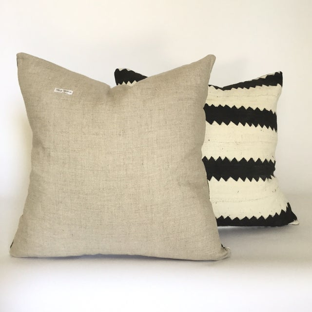 Mud Cloth Black and White Pillows - A Pair - Image 4 of 4