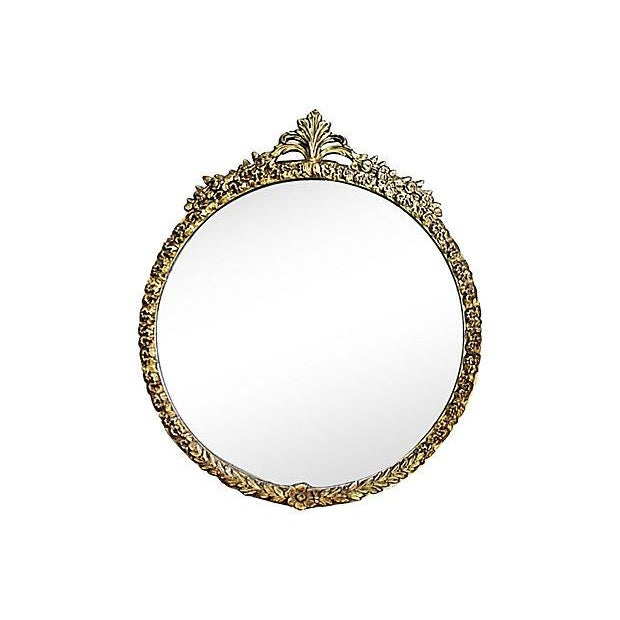 Image of Antique 1930s Round Gilt Gesso Floral Mirror