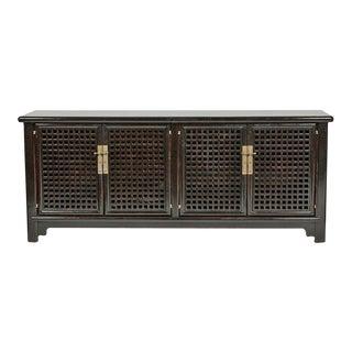Black Lacquer Lattice Sideboard