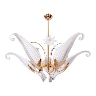 Huge Franco Luce Seguso Chandelier with Five Handblown Murano Glass Leaves