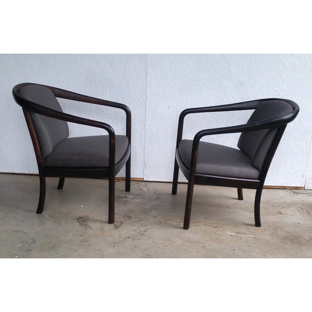 Image of Open Arm Lounge Chairs - A Pair