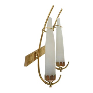 Italian Mid-Century Brass and Glass Sconce