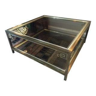 Mastercraft Smoked Glass Greek Key Brass Table