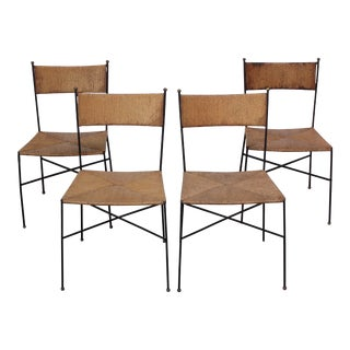 Set of Four Iron and Rush Chairs by Milo Baughman for Murray Furniture