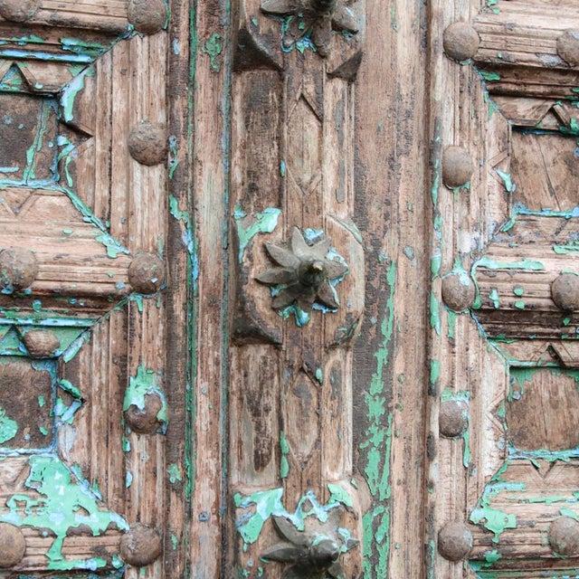 Teak & Iron Turquoise Doors - a Pair - Image 6 of 7